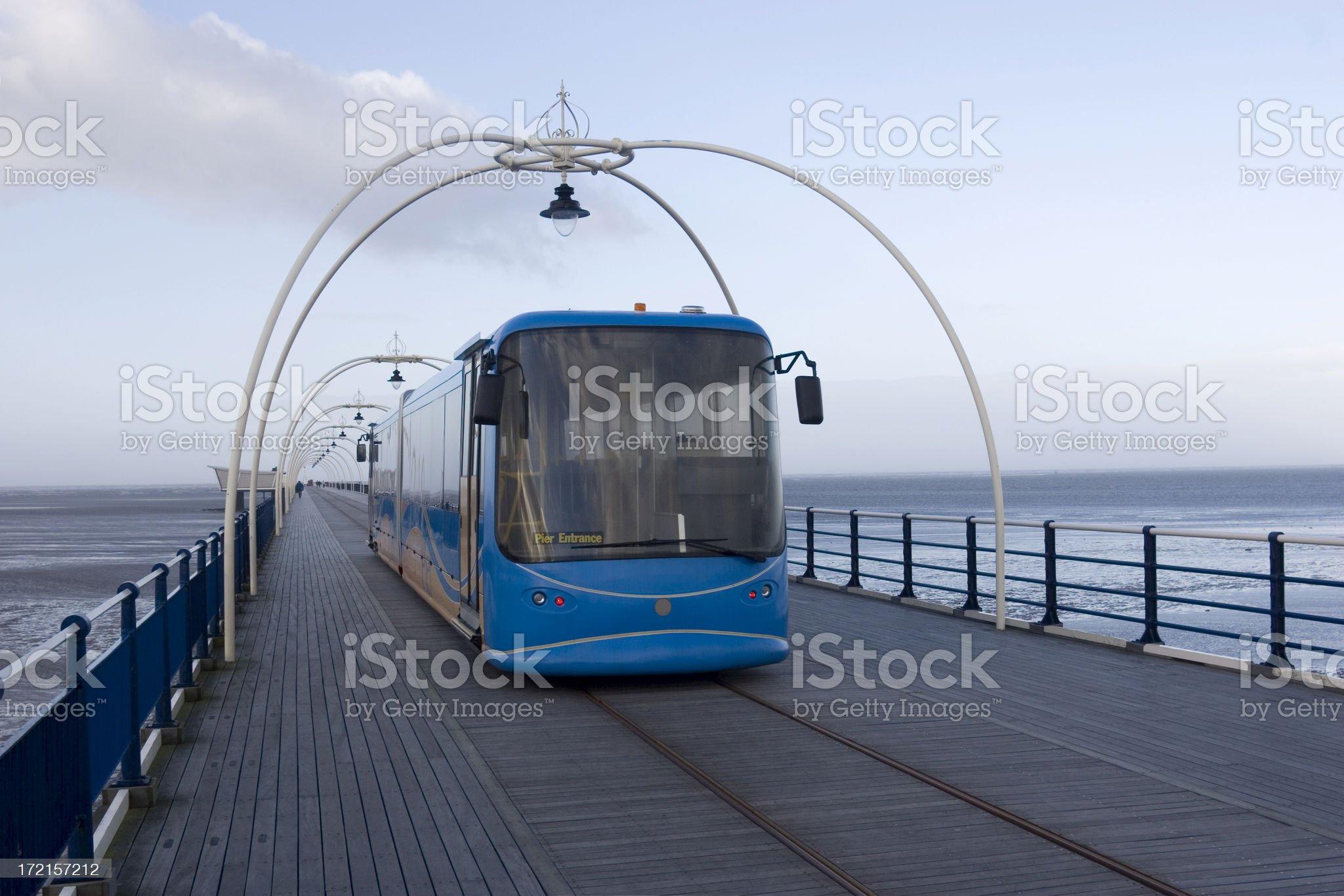 British seaside pier with light railway royalty-free stock photo