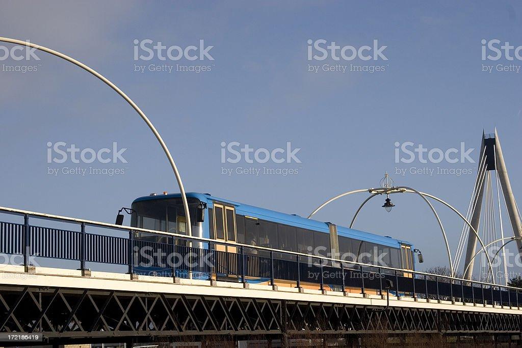 British seaside pier with tram royalty-free stock photo