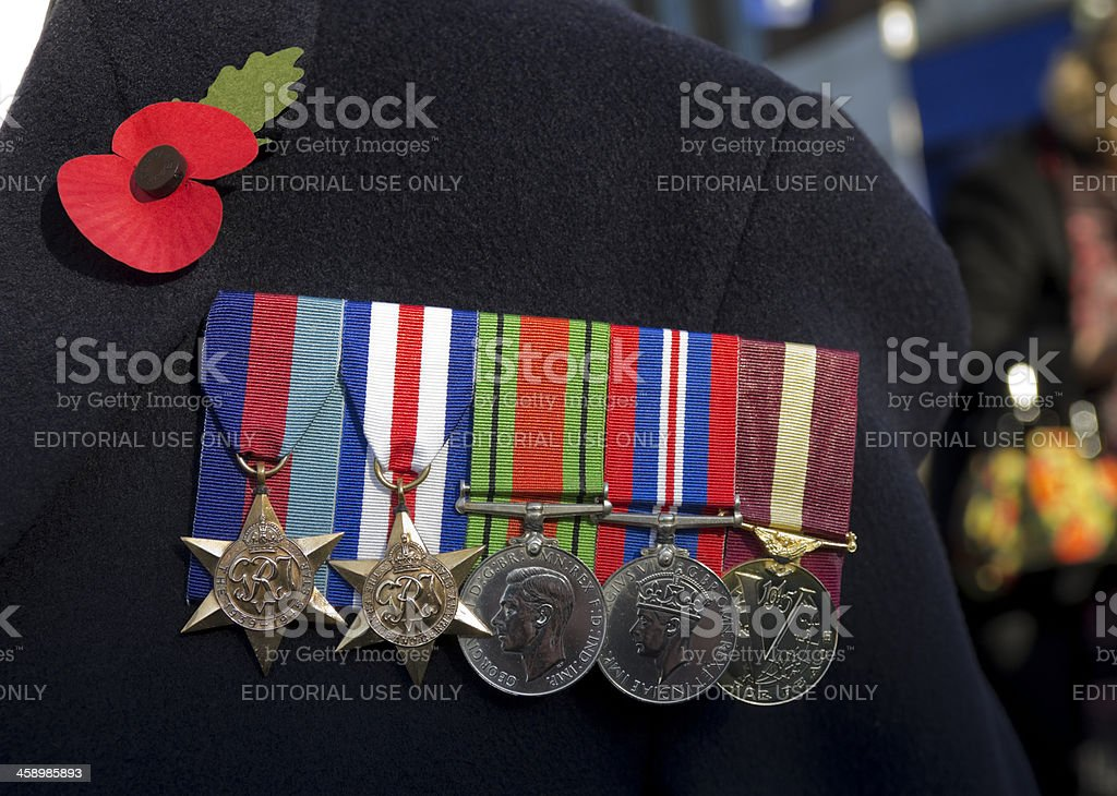 British Second World War Veteran's medals stock photo