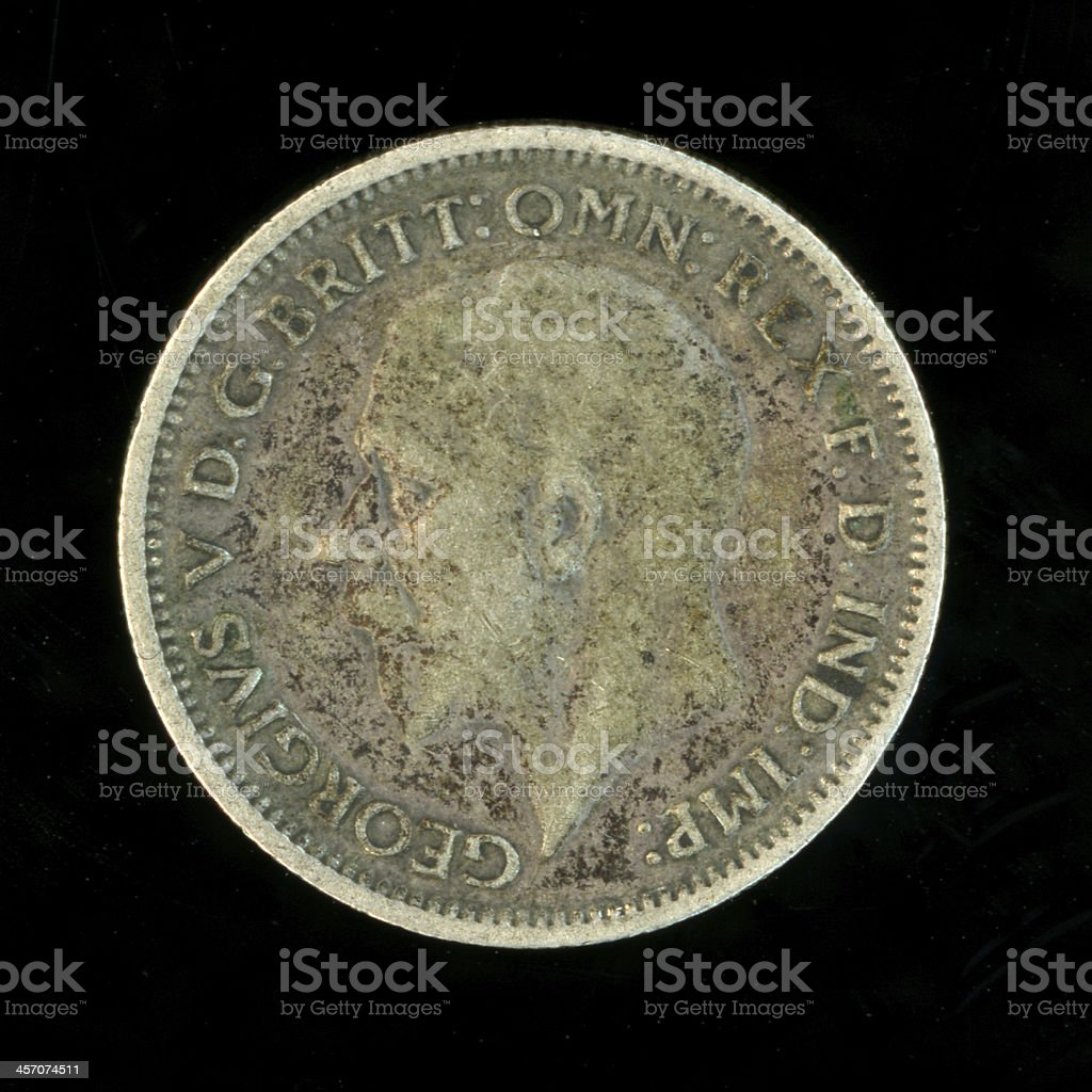 British Sixpence Silver Coin stock photo