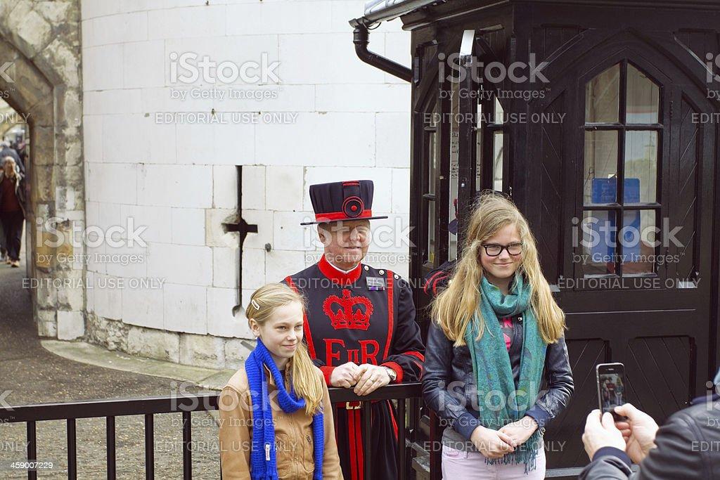 British smile at tower stock photo