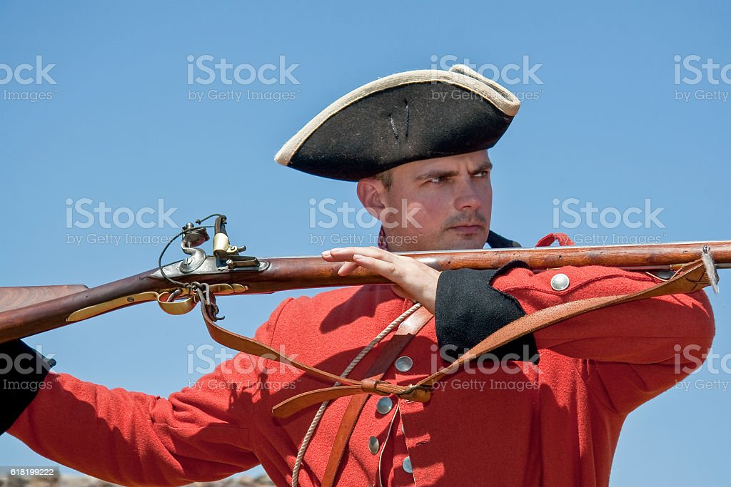 British Soldier, Bayonet Charge, French and Indian War stock photo