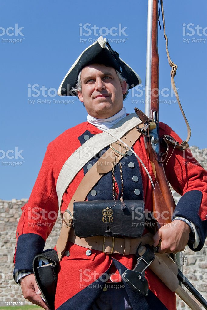 British Soldier, Full Gear, French and Indian War royalty-free stock photo