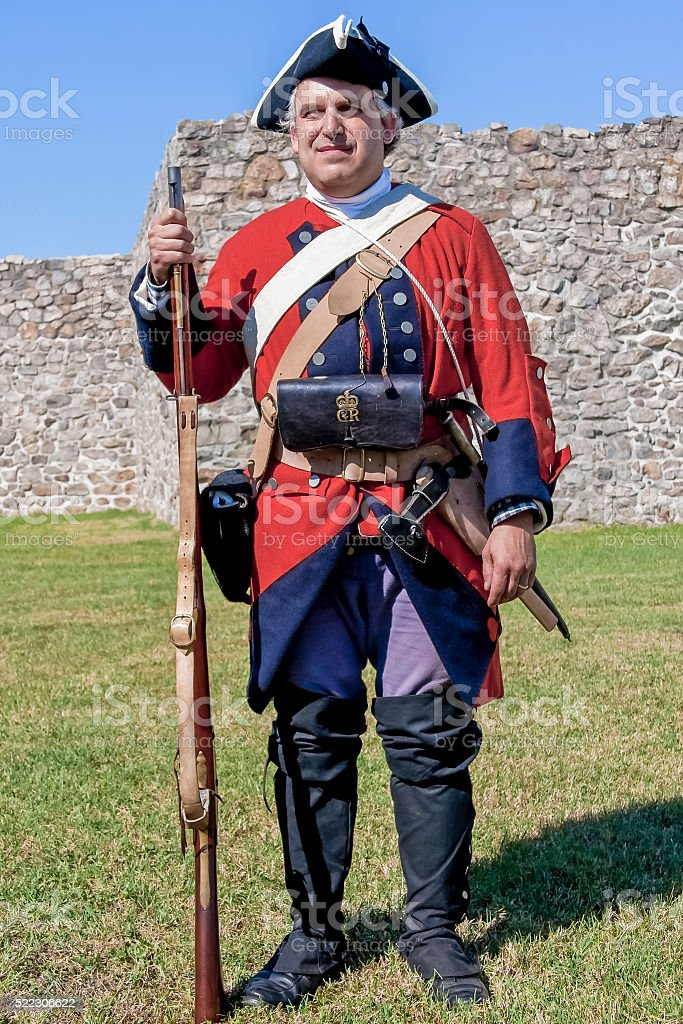 British Soldier, Full Gear, French and Indian War stock photo