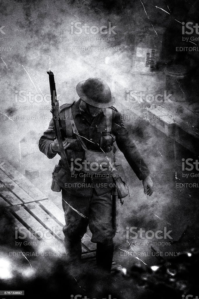 WW1 British Soldier in the trenches in the Somme, France stock photo
