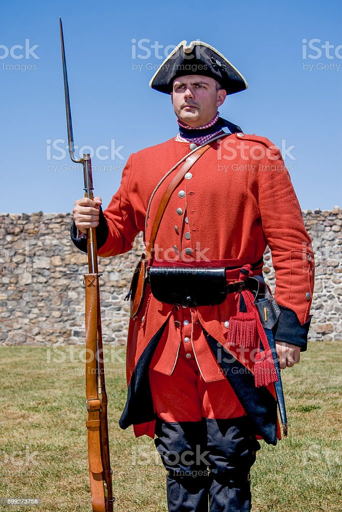 British Soldier Standing At Attention, French and Indian War stock photo