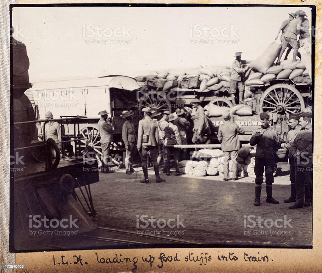 British Soldiers Loading A Train Boer War royalty-free stock photo