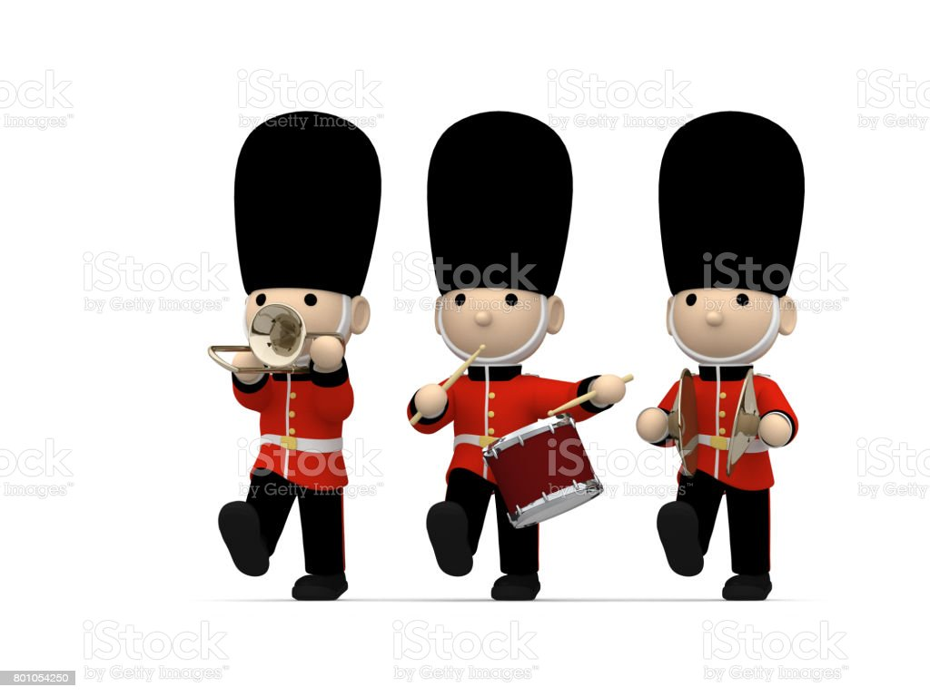 British soldiers on white, 3D illustration stock photo
