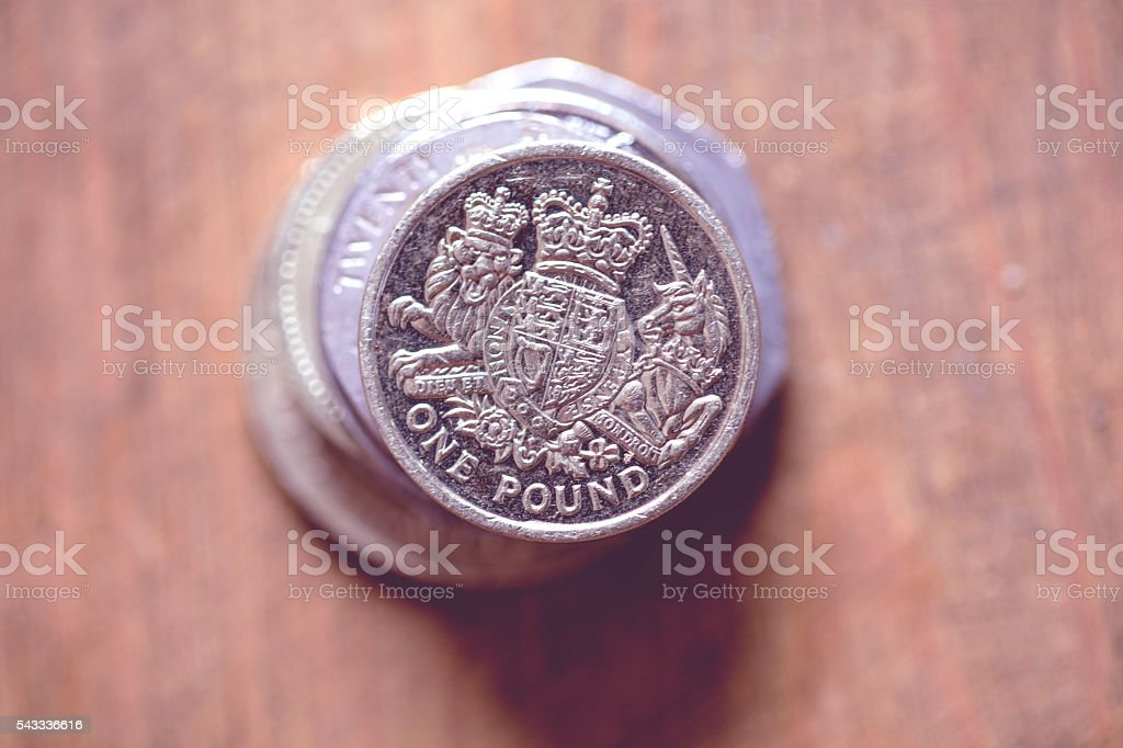 British sterling one pound coin stock photo