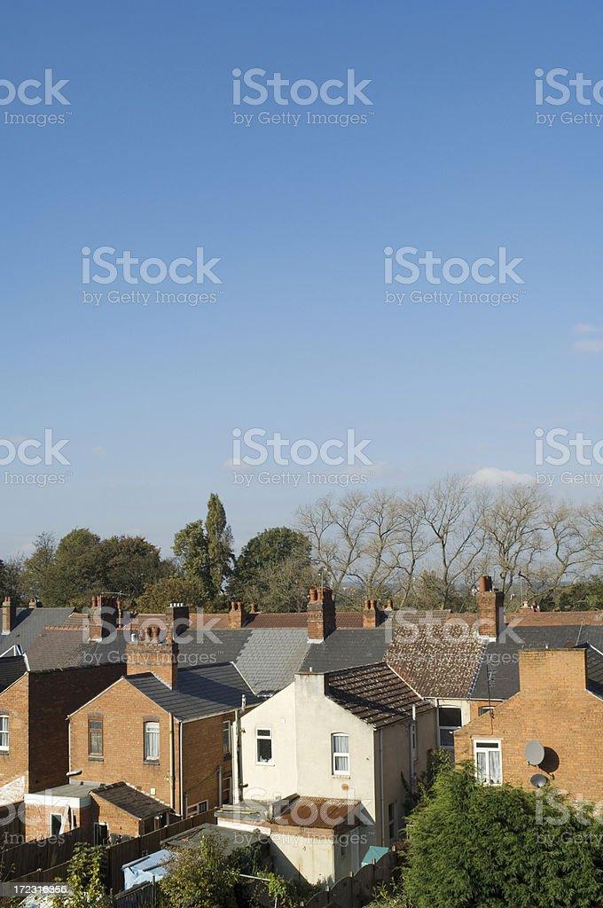British sububan scene - backs of terraced houses royalty-free stock photo