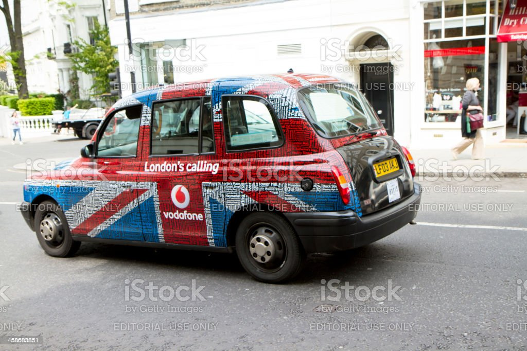 British Taxi Cab on A London Street stock photo