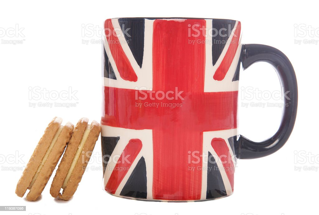 British tea mug and biscuits stock photo