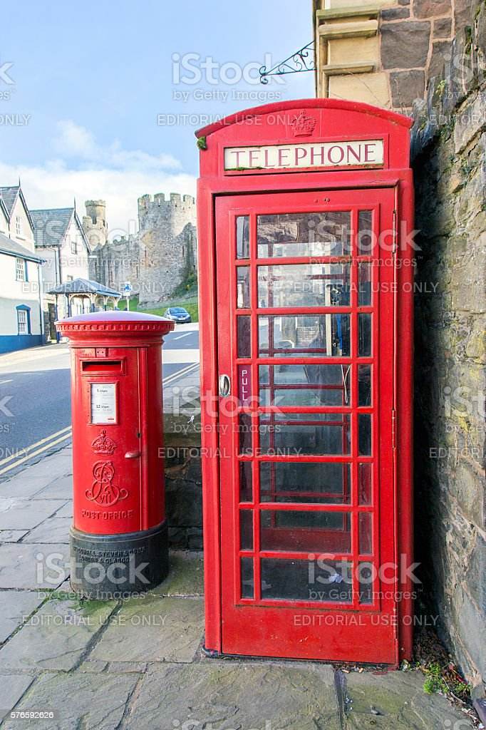 British Telephone Box and Post Box stock photo