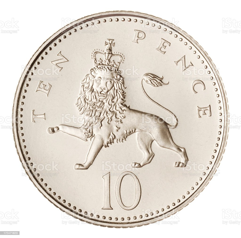 British Ten Pence Coin (with Clipping Path) royalty-free stock photo