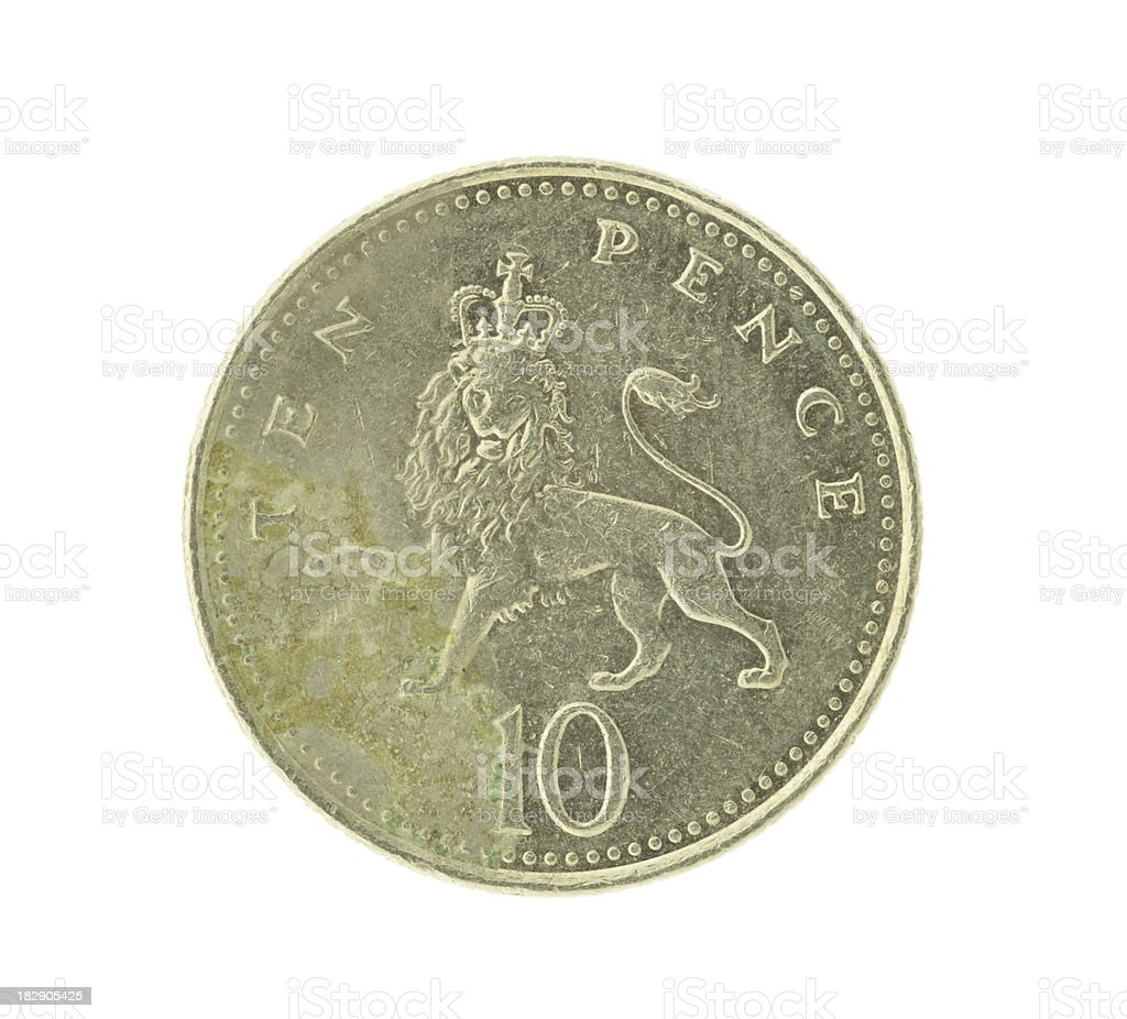 British Ten  Pence Coin (High Resolution Image) royalty-free stock photo