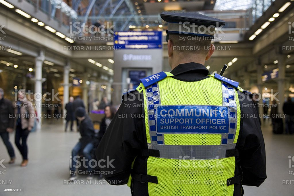 British Transport Police Community Support Officer St Pancras Railway Station stock photo