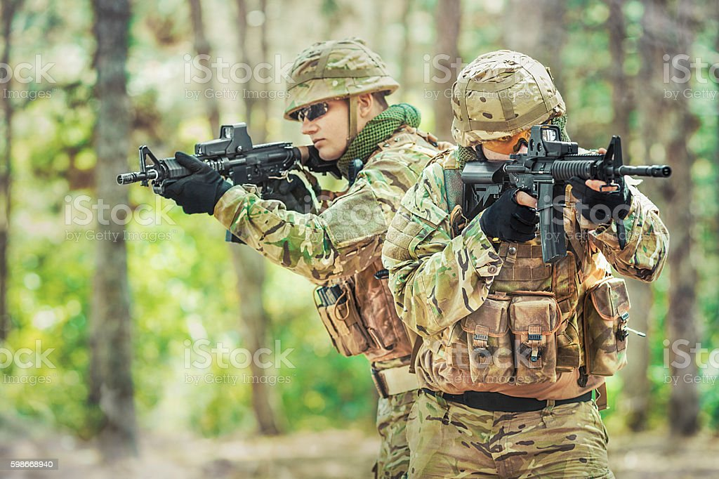 Two british soldiers in a fight stock photo