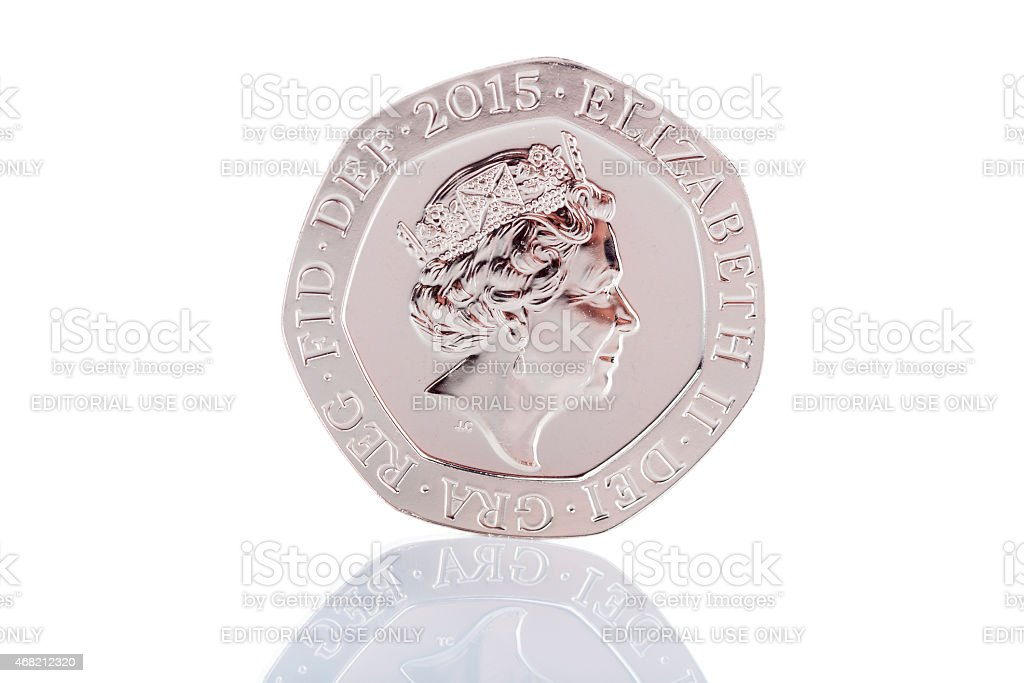 2015 British Twenty Pence Coin With Updated Queen's Head stock photo