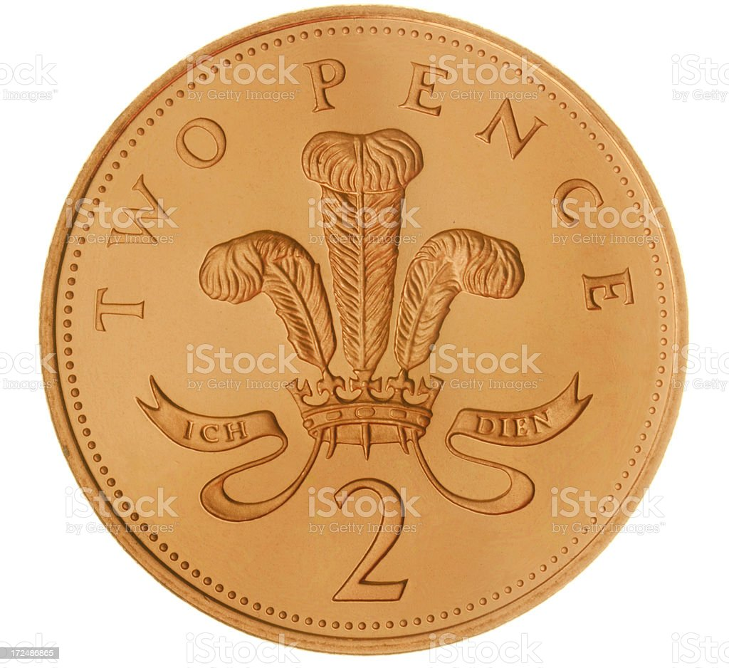 British Two Pence Coin (with Clipping Path) royalty-free stock photo