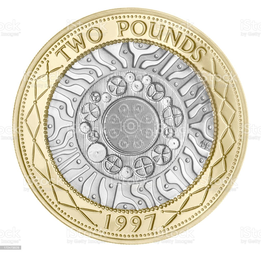 British Two Pound Coin (with Clipping Path) stock photo
