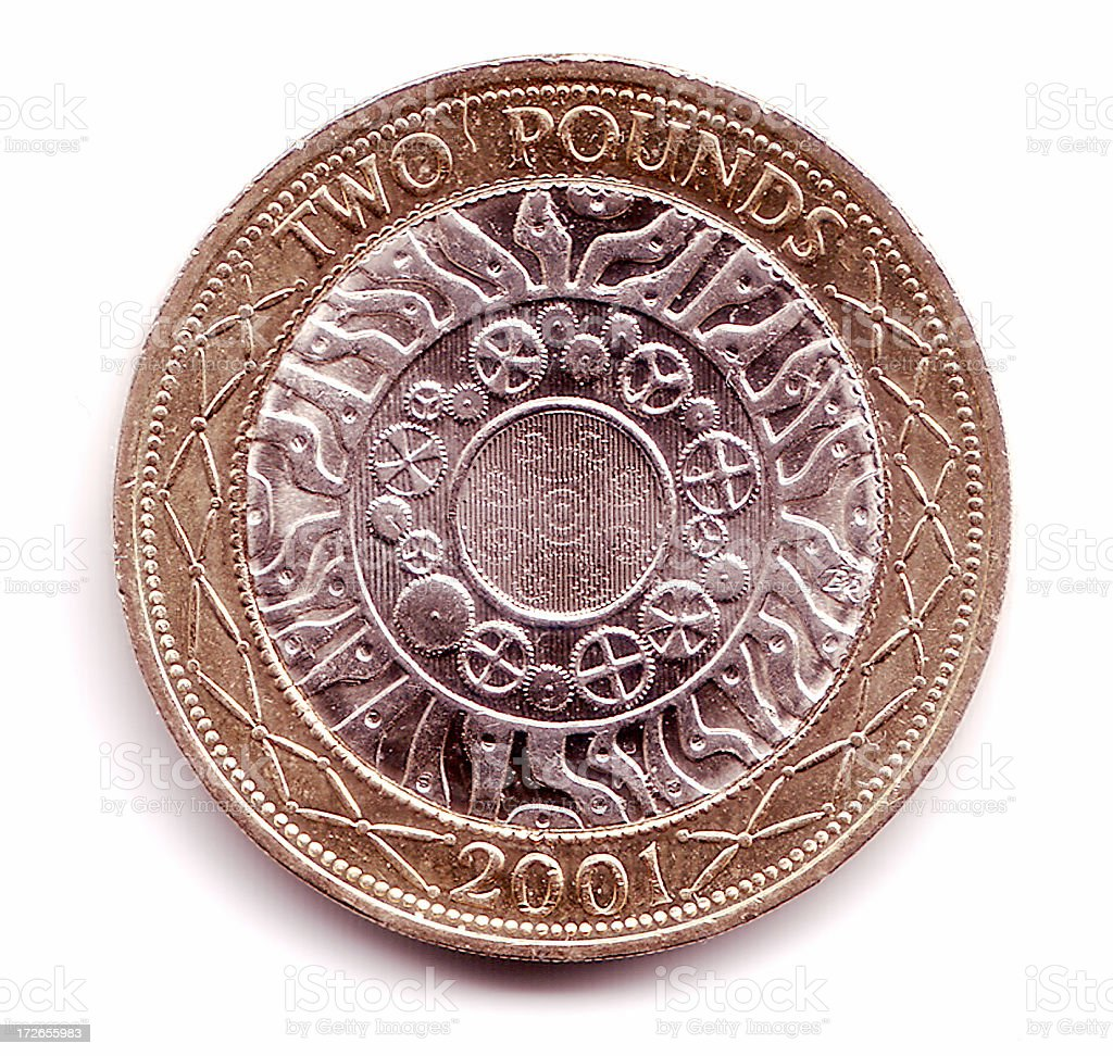 British two pound coin royalty-free stock photo
