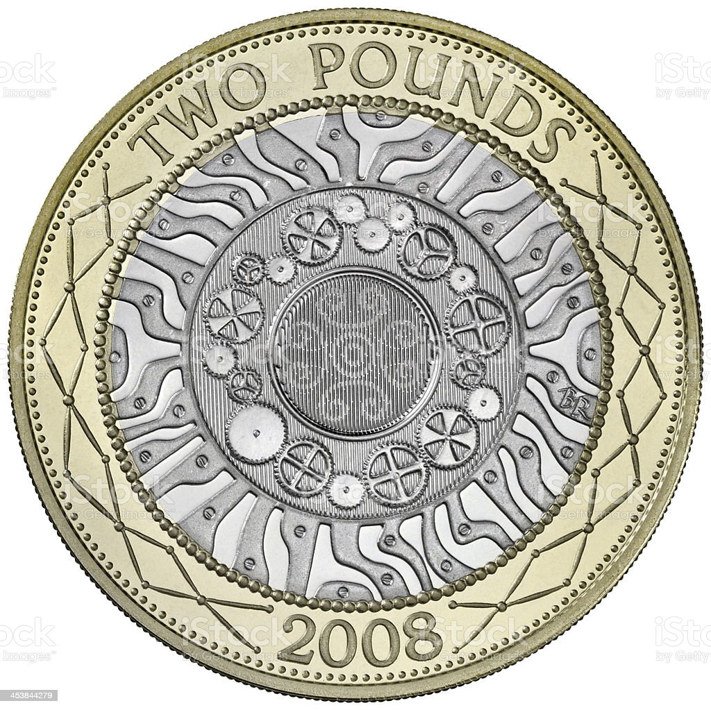 British Two Pound Coin with Clipping Path stock photo