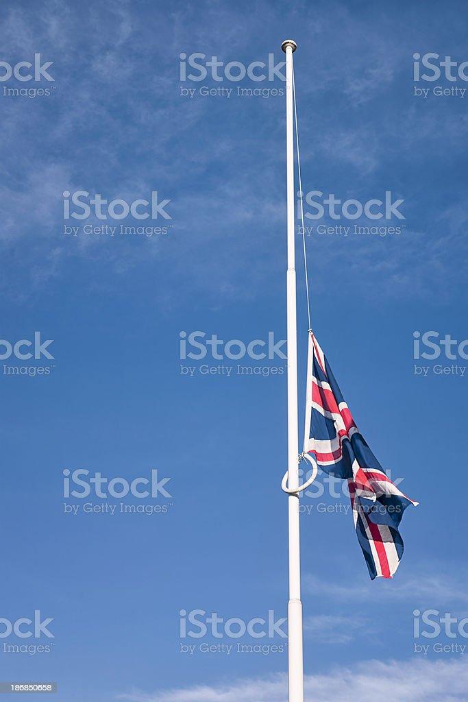 British Union Flag at Half-mast stock photo