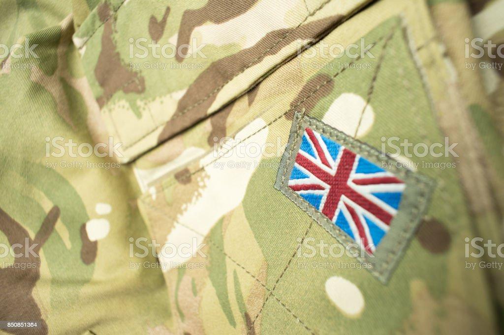 British Union Jack flag on army uniform stock photo