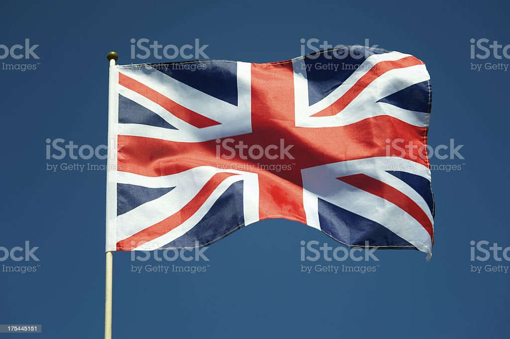 British Union Jack Flag UK Blue Sky Horizontal stock photo