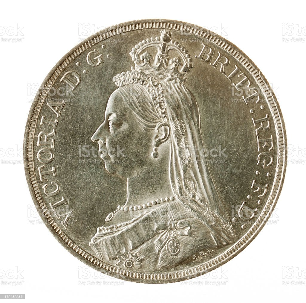 British Victoria Silver Jubilee Crown (with Clipping Path) stock photo