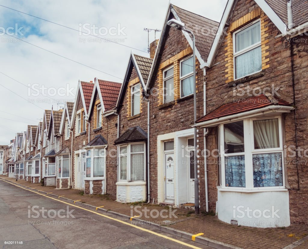 British Victorian terraced houses stock photo