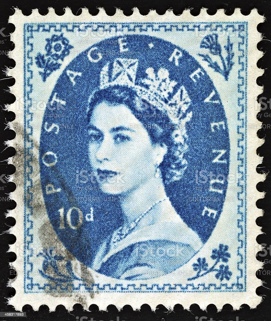 British Vintage Queen Elizabeth II Postage Stamp royalty-free stock photo