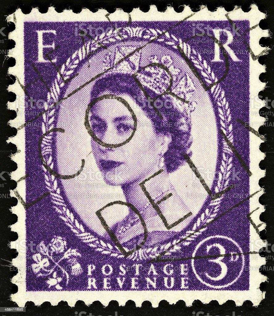 British Vintage Queen Elizabeth II Postage Stamp royalty-free stock photo