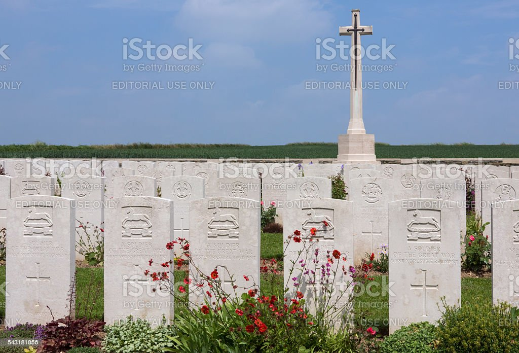 British War Cemetery - The Somme - France stock photo