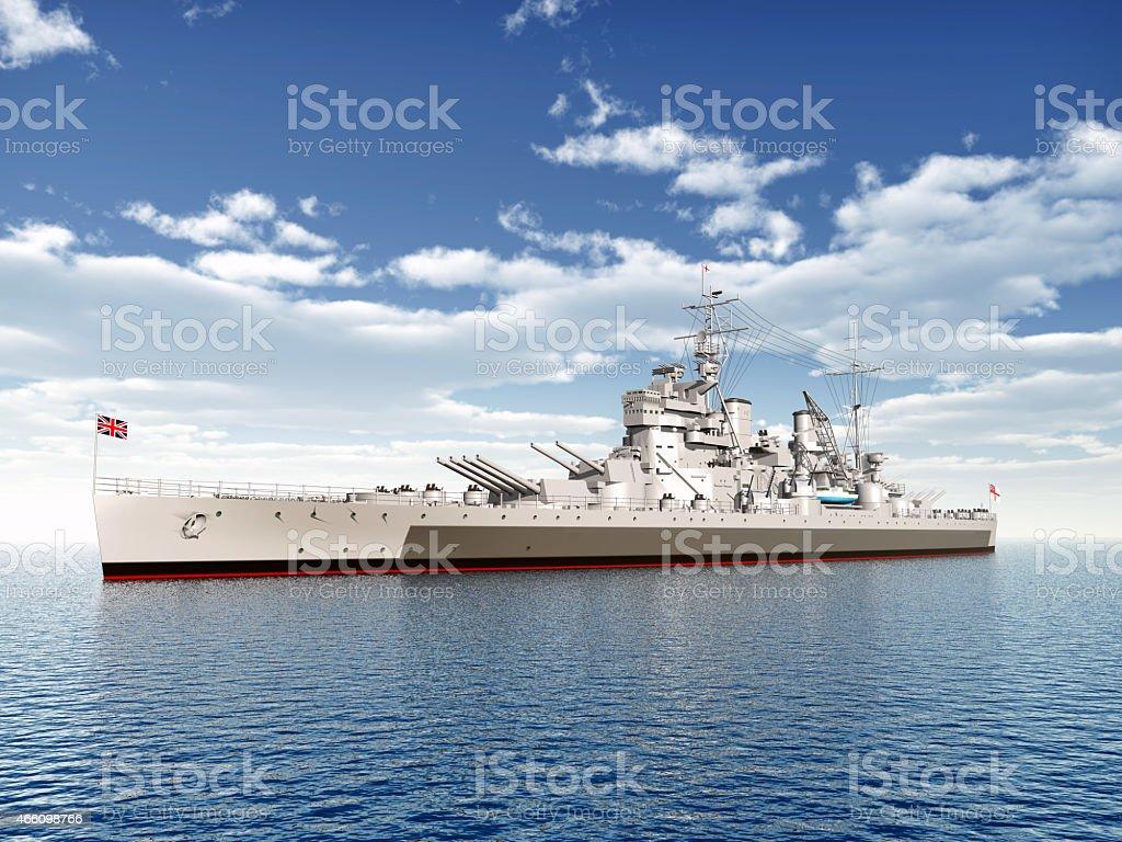 British warship of WW2 stock photo