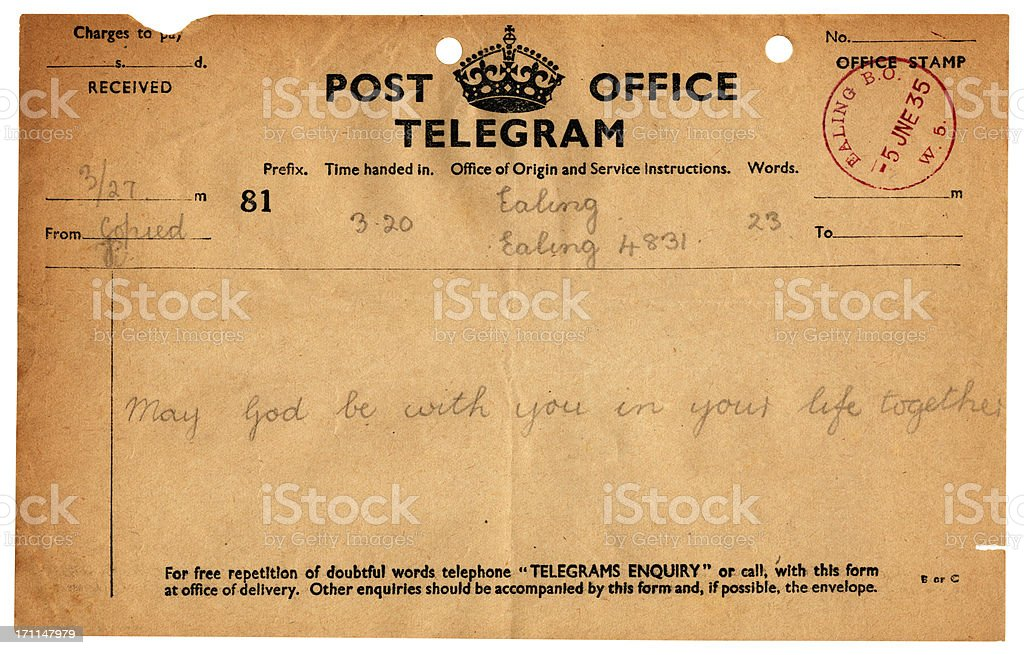 British wedding congratulations telegram, 1935 stock photo