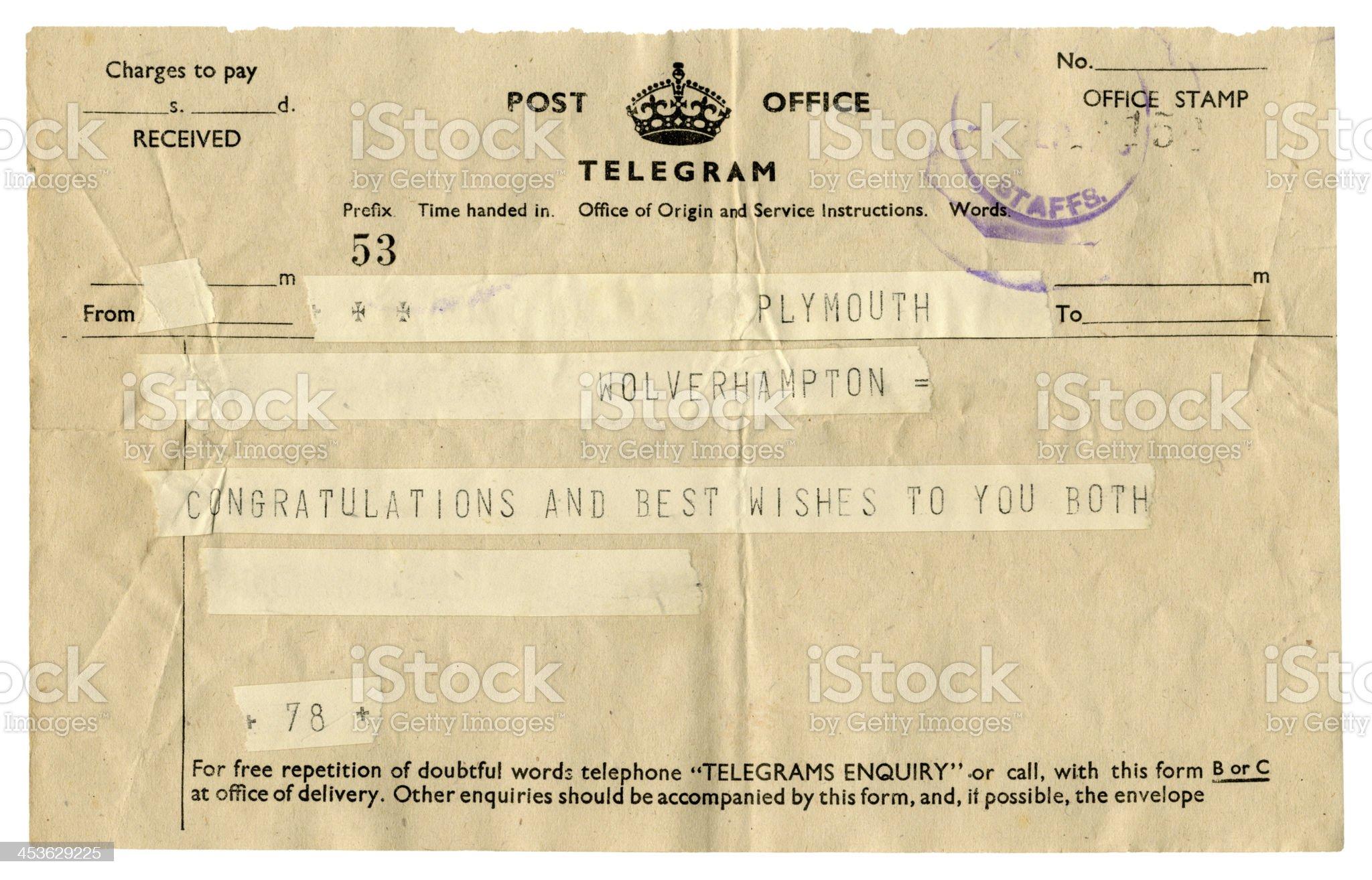 British wedding congratulations telegram, 1945 royalty-free stock photo