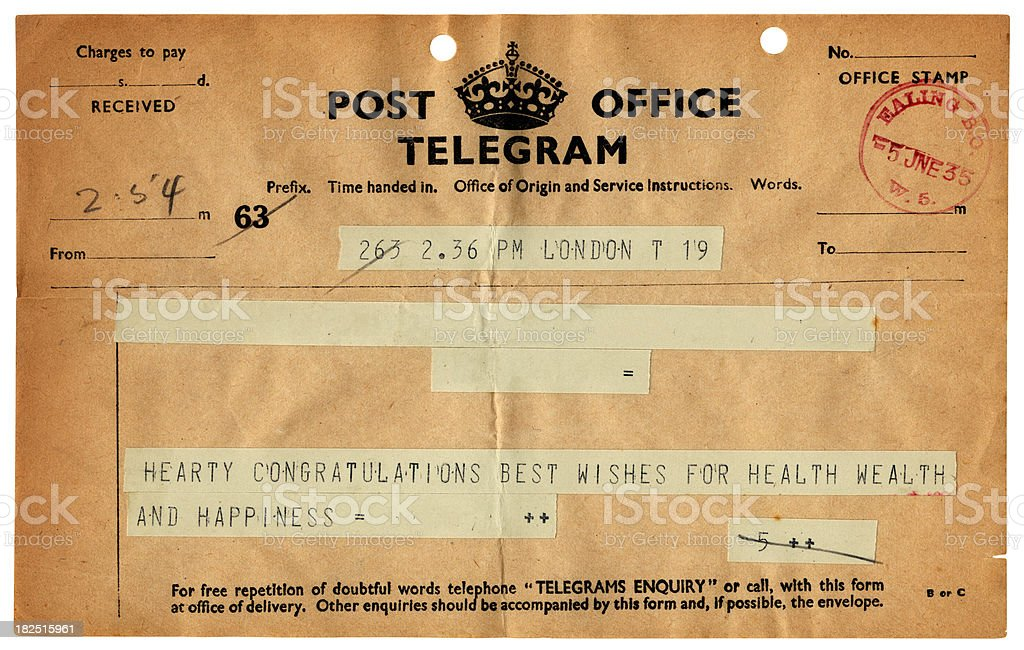British wedding telegram, 1935 royalty-free stock photo