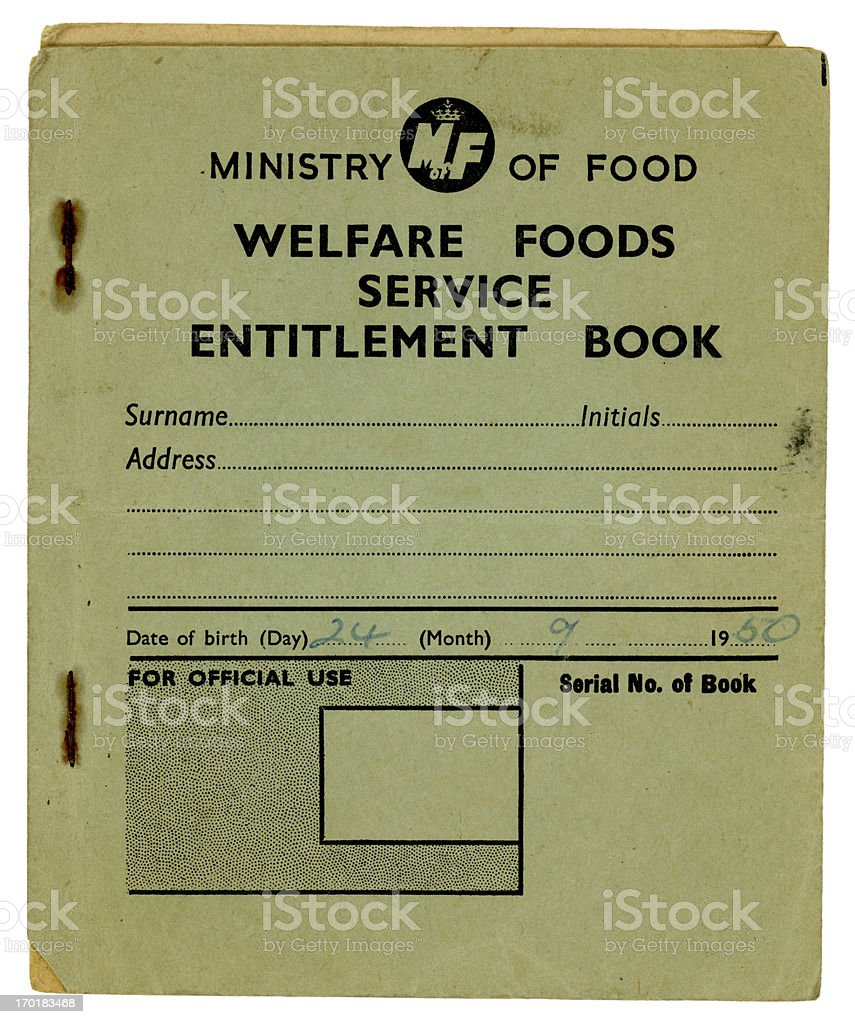 British Welfare Foods Service Entitlement Book, 1960 stock photo