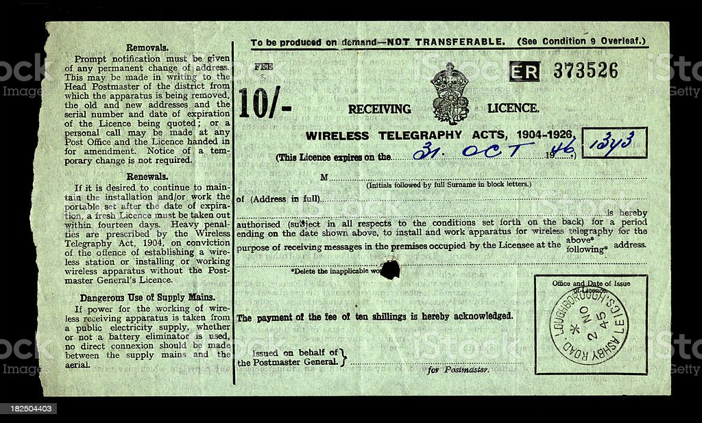 British wireless telegraphy (radio) licence from 1945/6 royalty-free stock photo