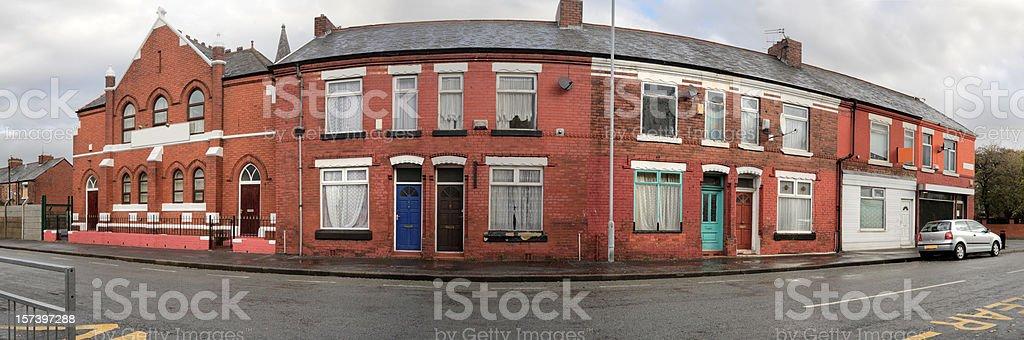 British Workingclass Street. Panorama XXL-More below royalty-free stock photo