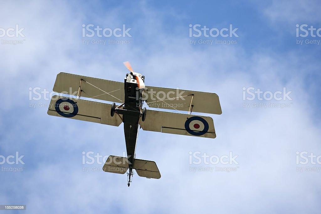 British World war 1 biplane stock photo