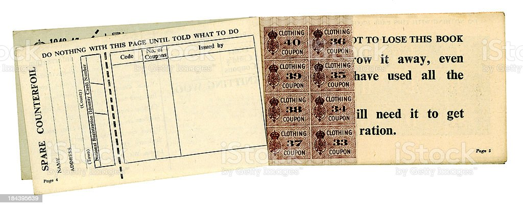 British World War Two clothing coupons and counterfoil stock photo