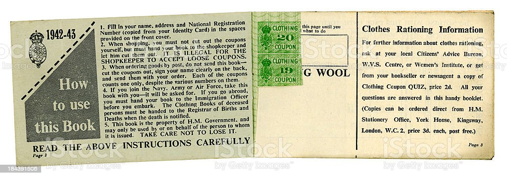 British World War Two clothing coupons and instructions stock photo