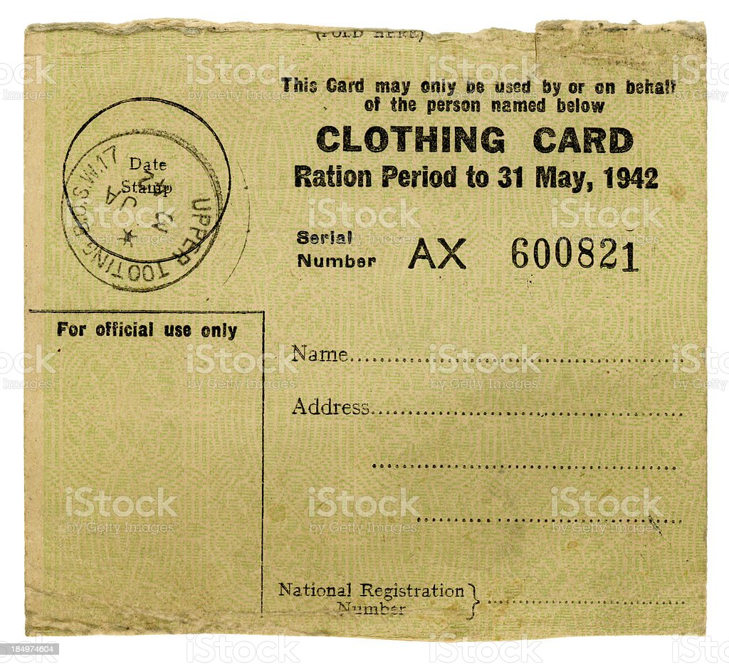 British World War Two clothing ration card, 1942 royalty-free stock photo