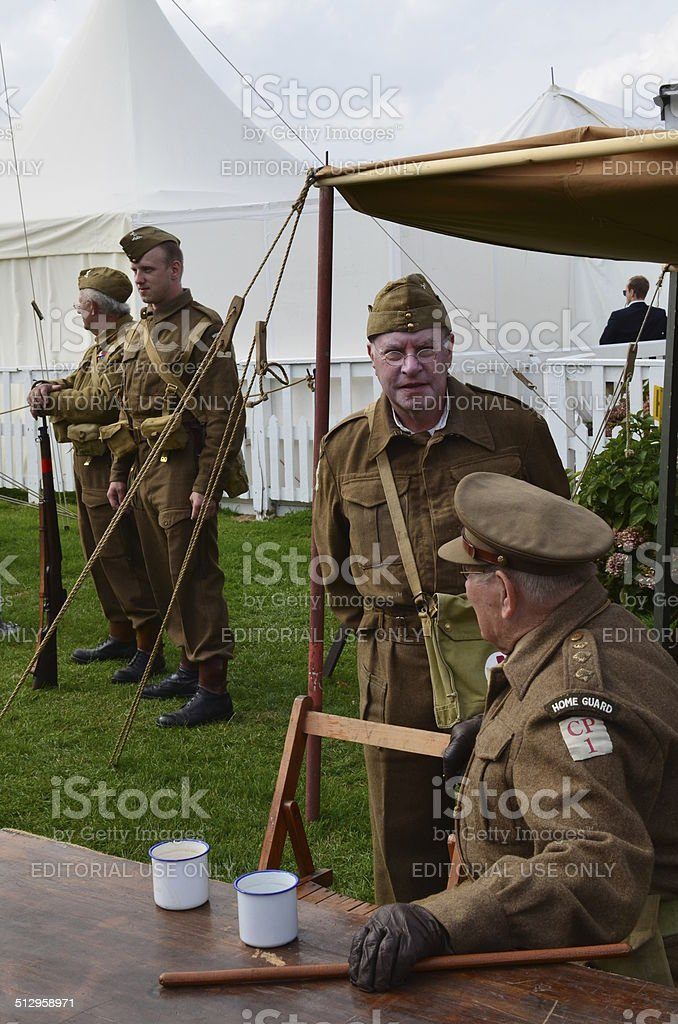British WW2 Home Guard at the Goodwood Revival. stock photo