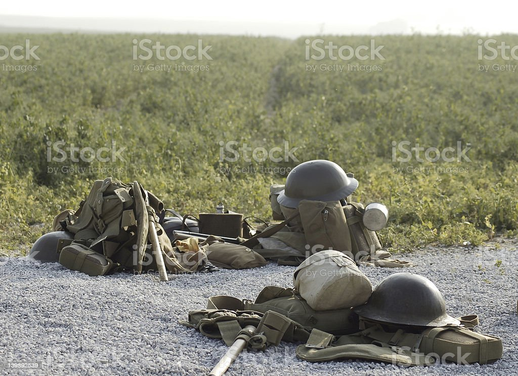 British WWI helmets and kits on Somme battlefield royalty-free stock photo