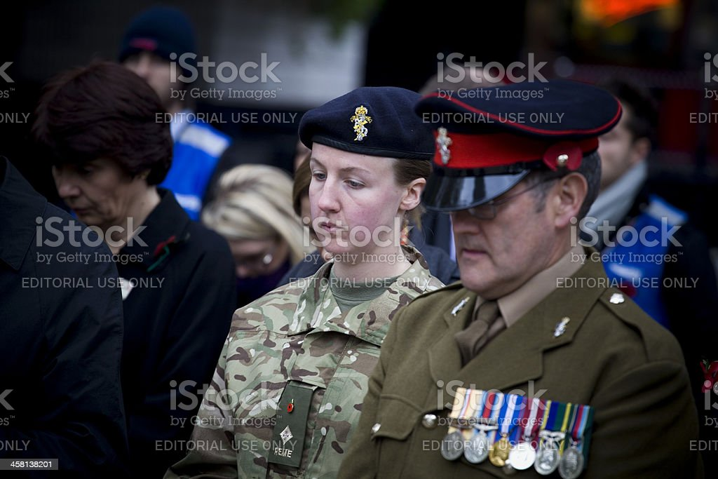 Britsh Army at Euston Railway Station Remembrance Service stock photo