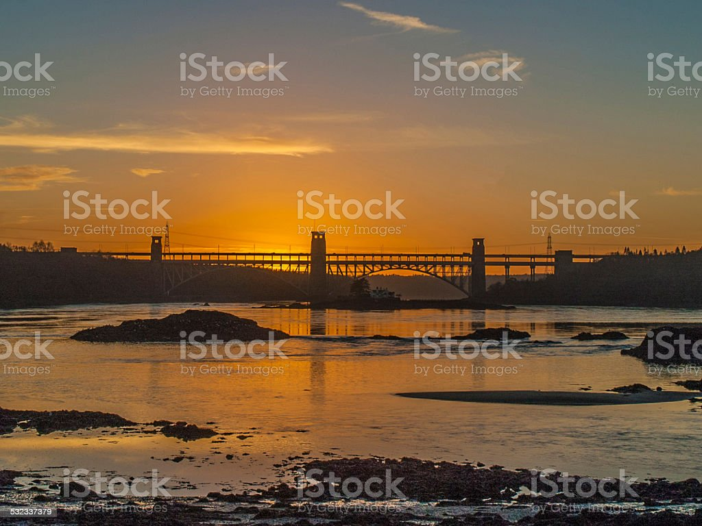Brittania Bridge & The Swellies Sunset Silhouette stock photo