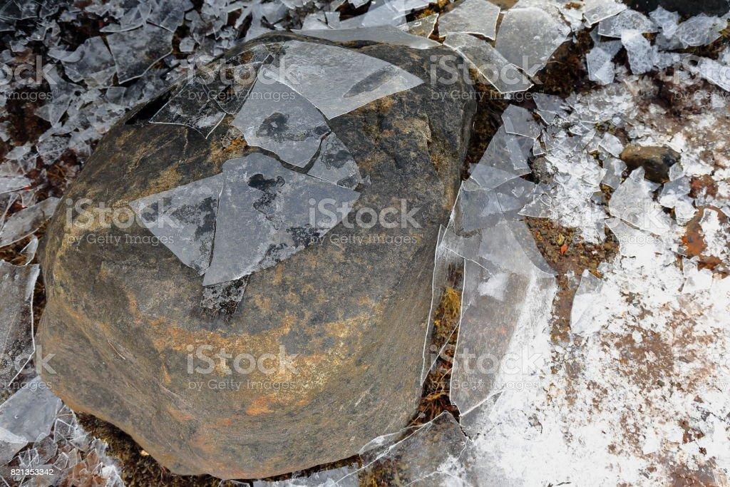 Brittle ice-stone on the floor-cove in Sildpolltjonna bay-Austnesfjorden. Austvagoya-Nordland fylke-Norway.0156 stock photo